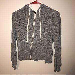 Gray Semi Cropped Zip Up